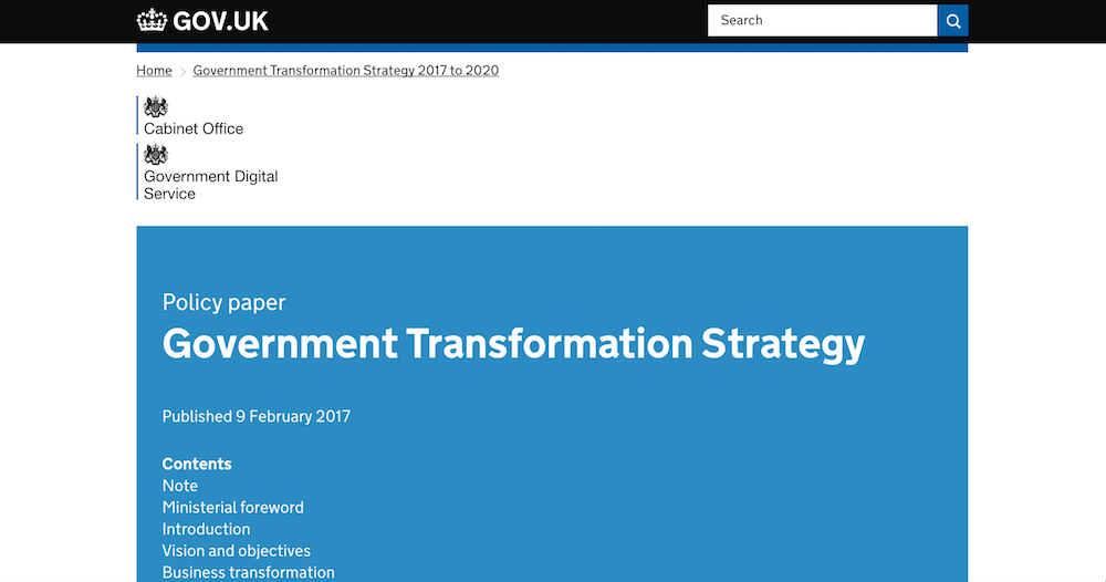 The Government Transformation Strategy 2017 to 2020