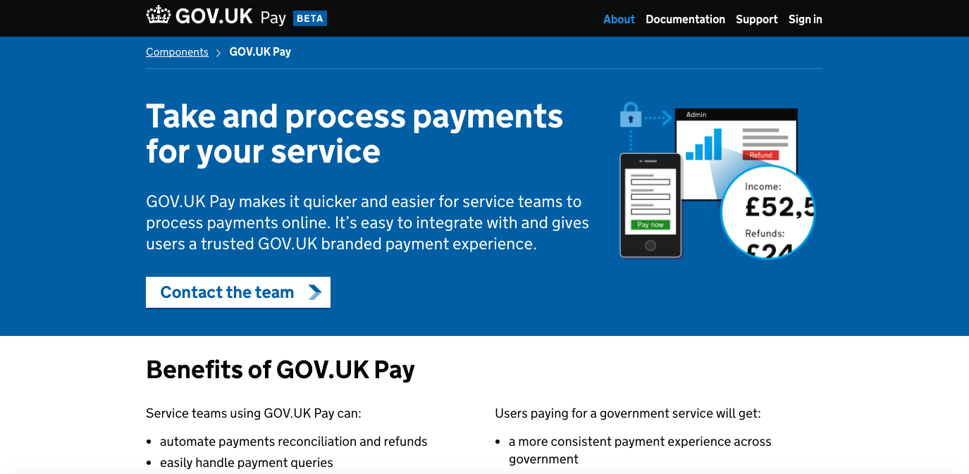 GOV.UK Pay product page screenshot