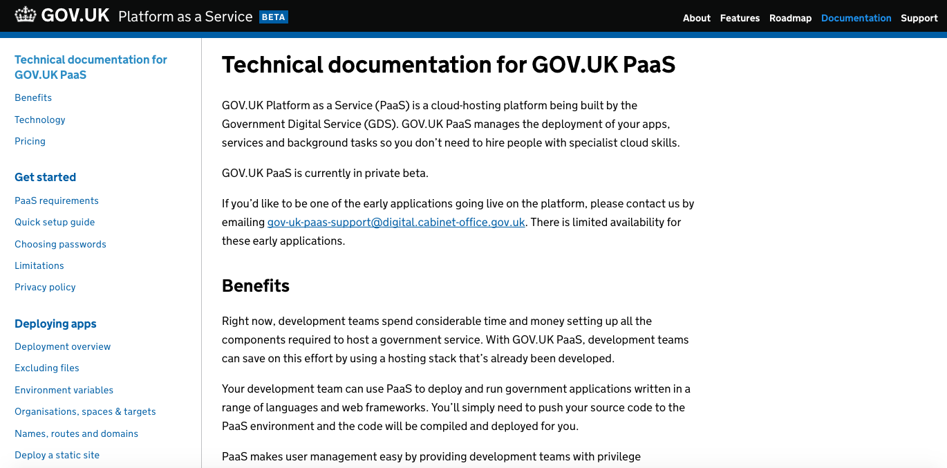 PaaS documentation page