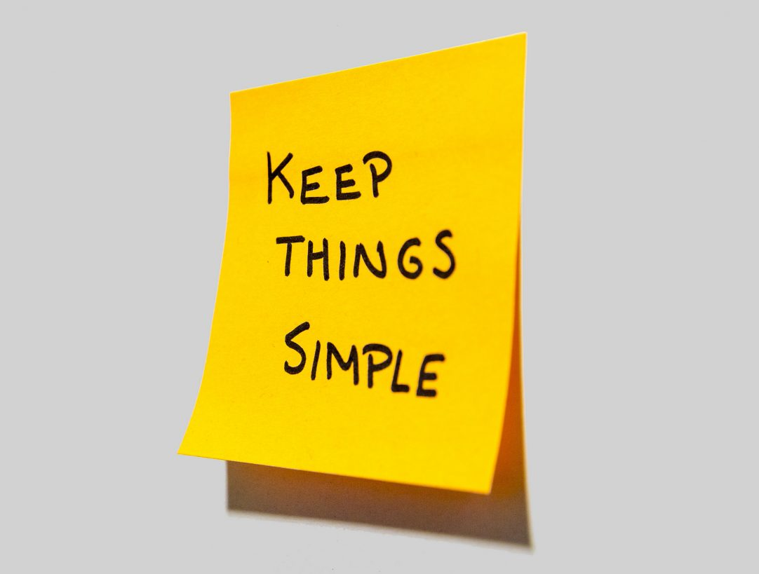keep things simple post-it note