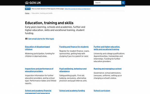 education, training and skills page on GOV.UK