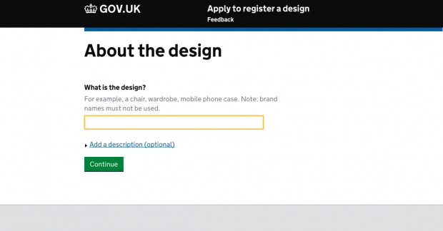 apply to register a design page screenshot from GOV.UK
