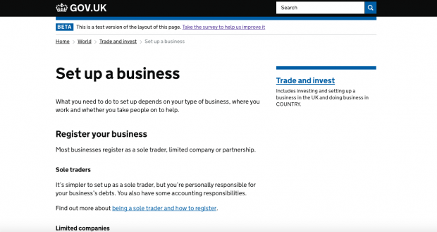 A screenshot of the 'Set up a business' page on GOV.UK