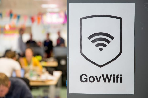 GovWifi poster and GDS office in the background