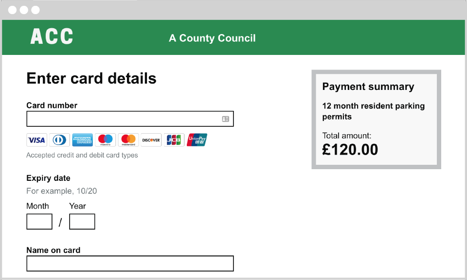 Image showing a mock card payment screen for a council