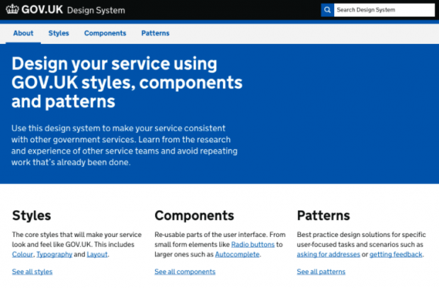 GOV.UK Design System homepage screenshot