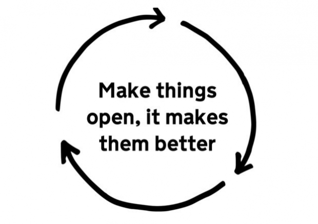 A graphic that says 'Make things open, it makes them better'