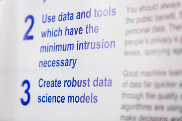 principles 2 and 3 of the data science ethical framework displayed on a poster