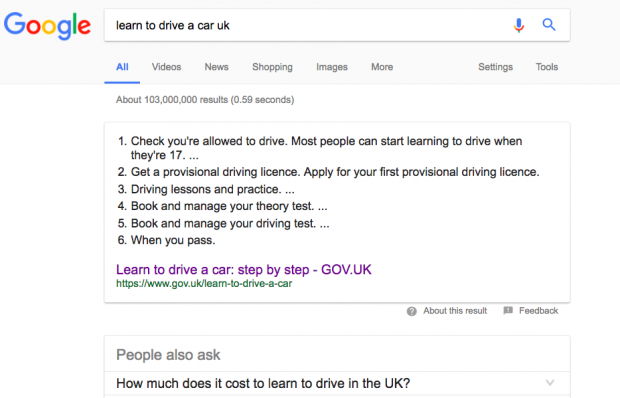 Google search snippet for the service page