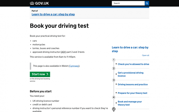 'Book your driving test' page screenshot
