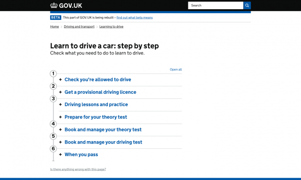 'Learn to drive a car: step by step' page screenshot