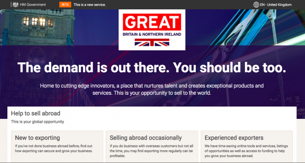 Department for International Trade great.gov.uk homepage screenshot
