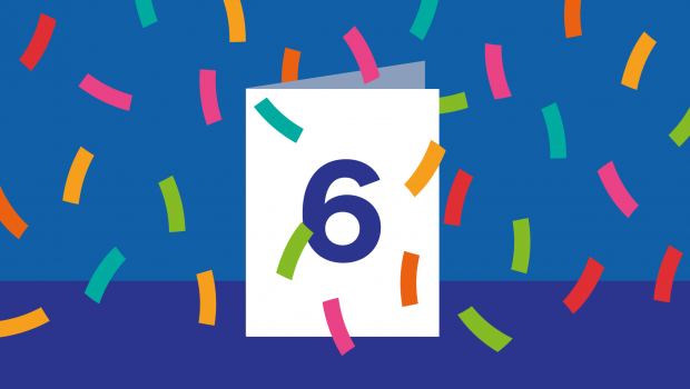 A graphic showing a card with the digit 6 and confetti around it