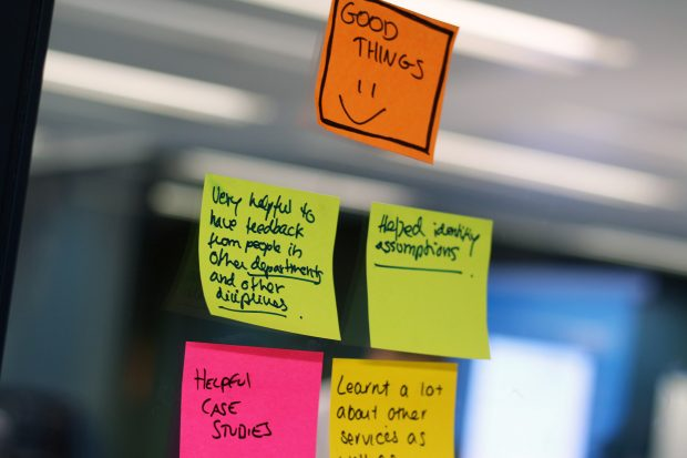 post-it notes on with positive feedback from a workshop