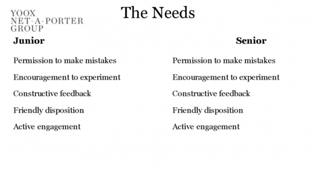 a slide showing that our needs remain the same regardless of your relative experience