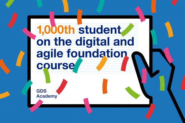 A graphic reading '1,000th student on the digital and agile foundation course'