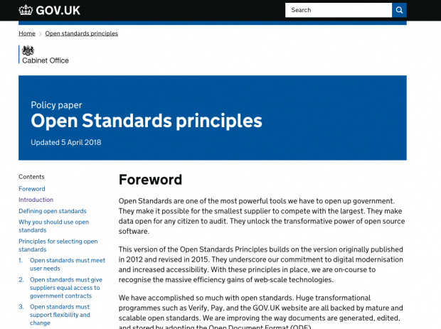 Screenshot of the homepage of the Open Standards policy paper
