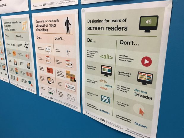 A poster showing advice for designing for screen reader users.