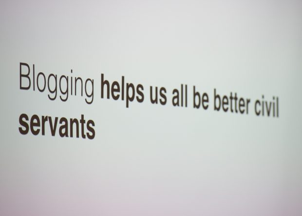 Slide saying 'blogging helps us all be better civil servants'