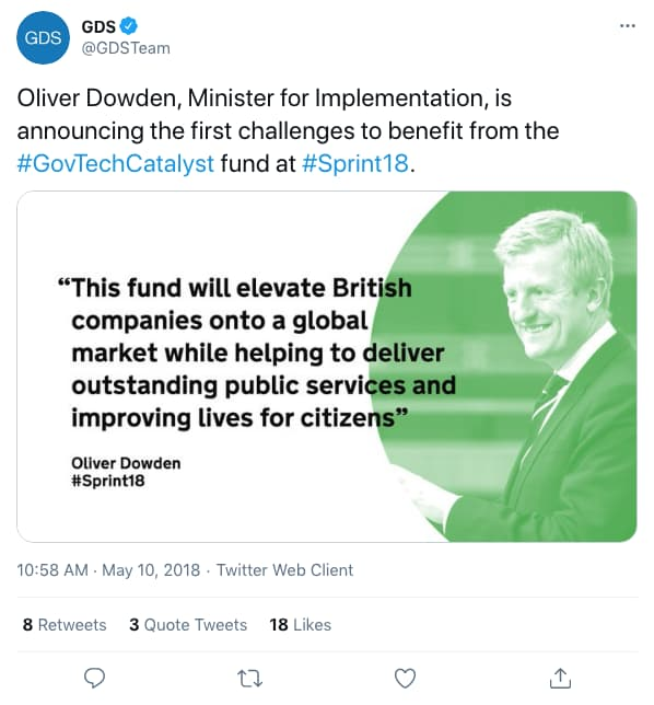 Tweet by gdsteam on 10:58 AM · May 10, 2018 (tweet content below)