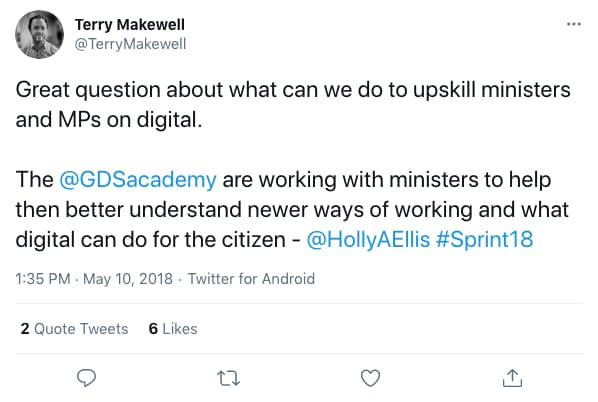 Tweet by TerryMakewell on 1:35 PM · May 10, 2018 (tweet content below)