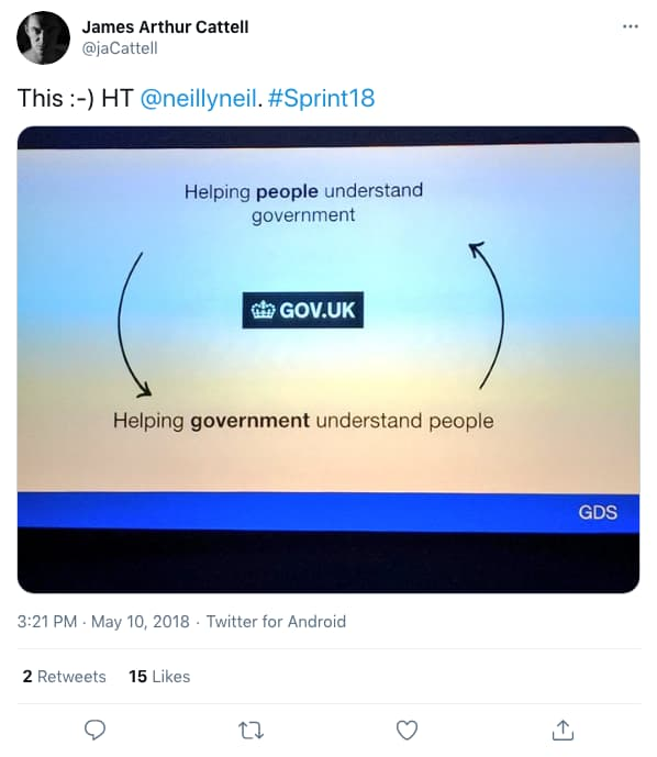 Tweet by jaCattell on 3:21 PM · May 10, 2018 (tweet content below)