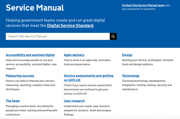Screenshot of the Service Manual homepage