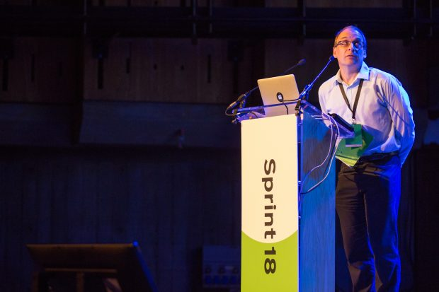 Shaun Ewings speaking at Sprint 18
