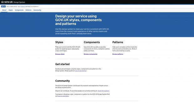 Screen shot of the GOV.UK Design System page