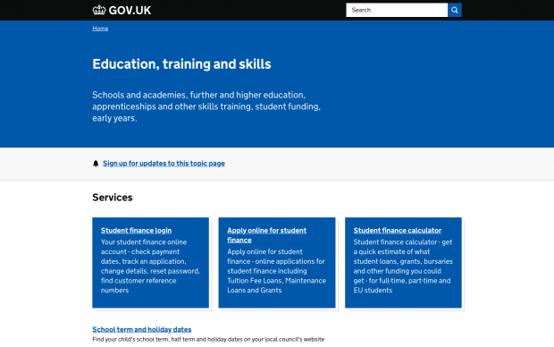 A screengrab of the Education, training and skills topic page