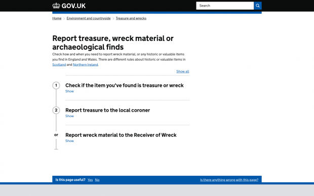 A screengrab of the page to report treasure, wreck material or archaeological finds