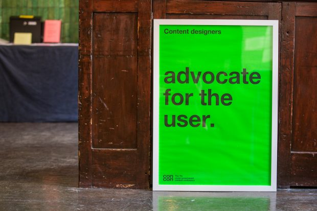 "A poster reading ""Advocate for the user"""