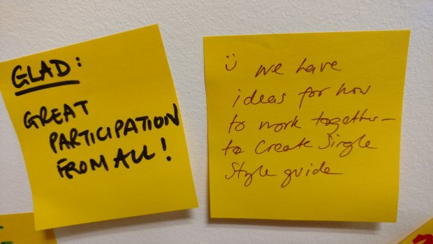 "Feedback from the workshop on Post It notes. One says: ""Great participation from all!"" The second says: ""We have ideas for how to work together to create a single guide."