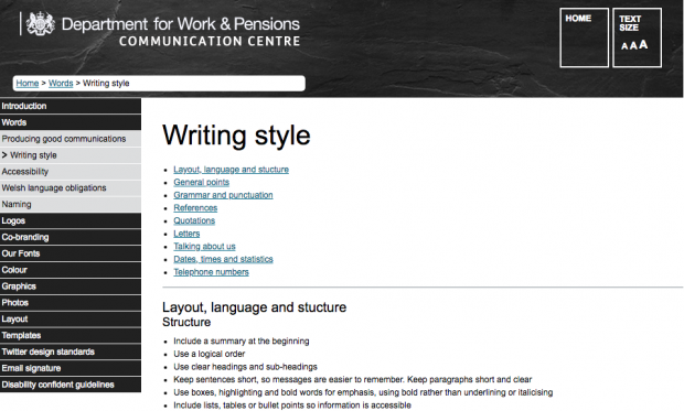 Screenshot of DWP style guide