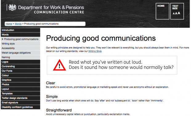 A screen shot of the DWP style guide