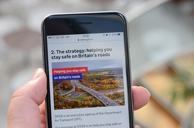 DVSA's strategy in HTML being read on a mobile phone