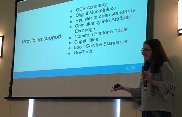 Helen Wall, GDS National Lead, presenting GDS support at a Local Digital Roadshow earlier this month.