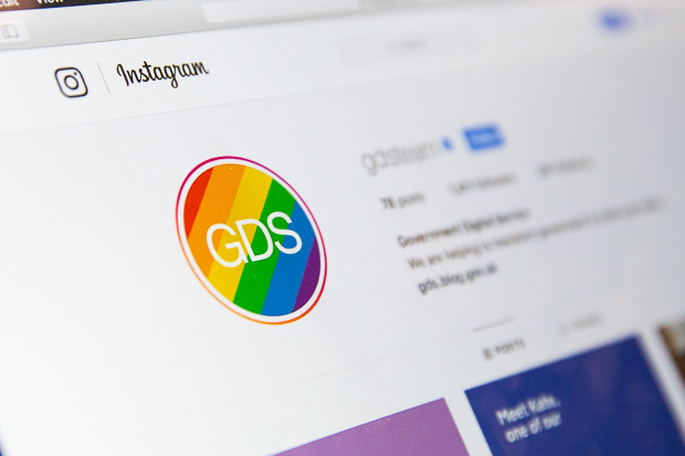 A laptop screen showing the GDS Instagram page