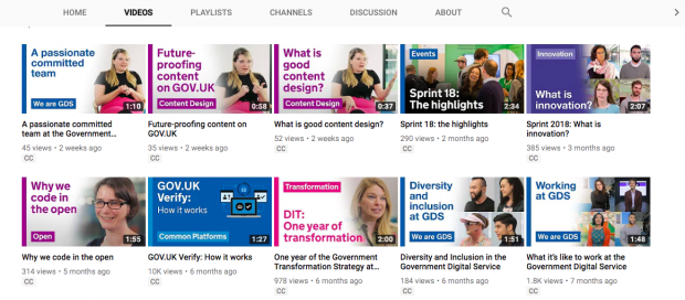 A screengrab of GDS's YouTube channel showing videos on content including GOV.UK Verify, diversity and inclusion at GDS and why we code in the open