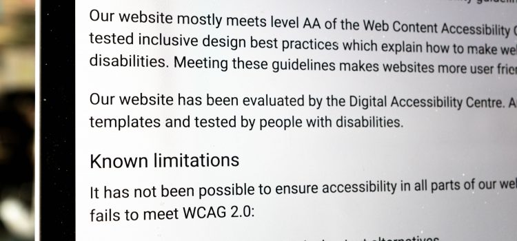 Image of an example Accessibility statement which illustrates how a website might not meet requirements over things like image alt text or missing captions