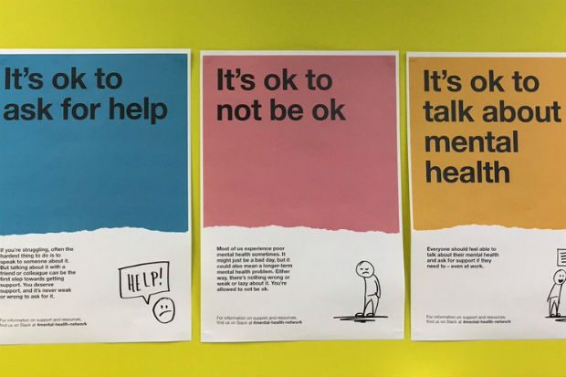 "Mental Health posters saying ""Its ok to ask for help"", ""Its ok to not be ok"" and ""Its ok to talk about mental health""."