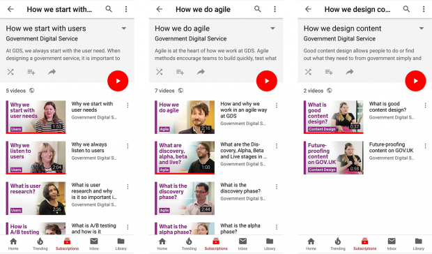 A screenshot of GDS YouTube playlists for How we do agile, How we design content and How we start with users