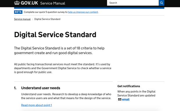 A screenshot of the Digital Service Standard page on GOV.UK