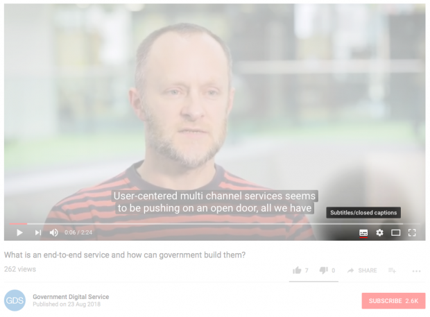 A screenshot of the GDS YouTube page showing where the subtitles button is