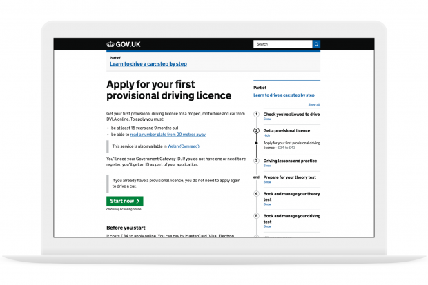A screenshot of the 'Apply for your first provisional driving licence' step by step page