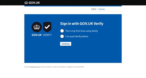 A screenshot of the GOV.UK Verify start page