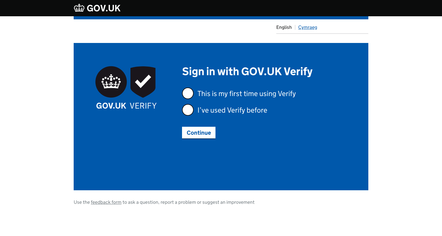 A screenshot of the GOV.UK Verify start page