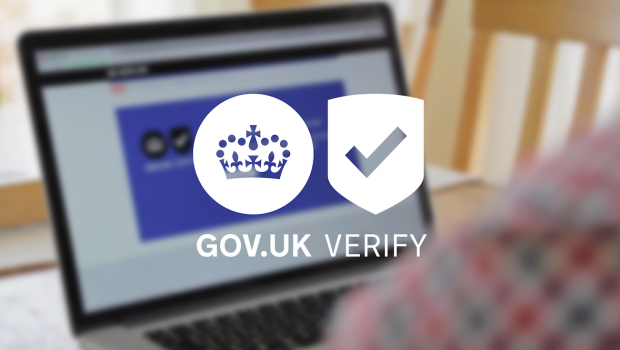 A photograph of someone using GOV.UK Verify overlaid with the GOV.UK Verify logo