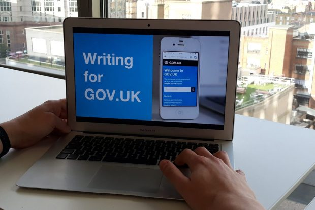 A computer screen that reads: 'Writing for GOV.UK'