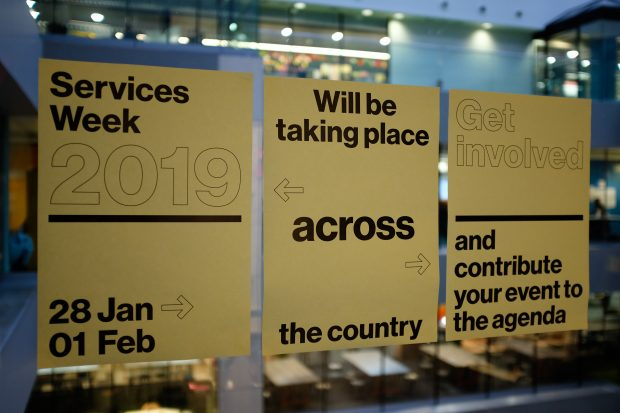 Three posters promoting Services Week saying: Services Week 2019, 28 Jan - 1 Feb, will be taking place across the country. Get involved and contribute your event to the agenda.